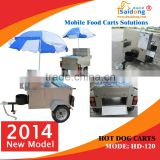 Small trailer hot dog trailer bike hot dog cart trailer for different design