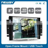 Project 4-wires resistive touch screen open frame LCD monitor support /Linux/Android system