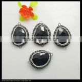 LFD-0078B Wholesale Nature Black Agate Druzy Connector Beads, with Crystal Rhinestone Paved Gem stone Beads Jewelry Findings