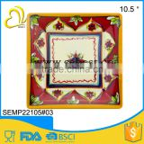 "porcelain imitating 10.5"" custom colored melamine square plate"