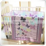 emboidery butterfly baby girls bedding set crib bedding set from professional manufacturer