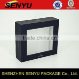 square and black, high-grade packaged gift box, gift paper box design with clear PVC window