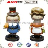 6.3 inch two resin standing cute boy&girl figurins for Thanksgiving ornaments,wholesale !
