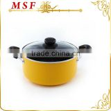 kitchen utensil classic nonstick aluminium pot with 2 handles stainless steel & silicon handle
