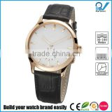 PVD rose gold stainless steel case watch white dial Sapphire glass with white double genuine leather