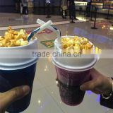 Custom popcorn and cola plastic cup with lid and straw for cinema                                                                         Quality Choice
