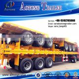 AOTONG carbon steel 3 axle 40ft flatbed semi trailer/container transport semi trailer/flat trucks and trailers