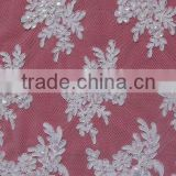 Beaded Re-embroidery Wedding Dress Lace Fabric Ivory