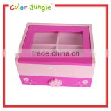 Wood pink jewelry box, girls favourite jewellery gift box, jewelery gift boxes transparent cover jewelery box