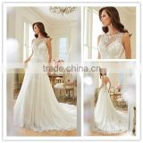 New Fashion 2016 Sexy off shoulder illusion neckline keyhole crystals casual beach wedding dresses DM-036 summer wedding dress