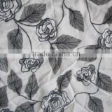 Iron Grey Solid Color Full Bloom Rose Floral Plain Embroidery Fabric 2 leafs Simple Design Embroidery For Casual BLouse