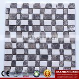 IMARK Emperador Dark Marble Mix Sago Marble Mosaic Tile For Wall Tile Decoration
