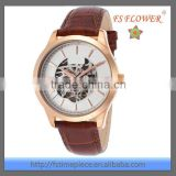 Rose Gold Watch Case Transparent Screw Back Skeleton Mechanical Watch Leather Men Wrist Watches