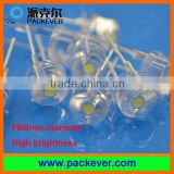 F8 8mm 0.5W high brightness straw hat LED diodes beads 120 degree view angle white color