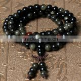 2015 Gets.com 108 beads japa mala, Natural Black Obsidian, with Red Agate, Round, 4-strand