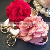 In Stock Leather Strap Flowers Keychain Bag Pendant Car Ornaments Bag Charm For Women Key Chain Buckle Key Ring