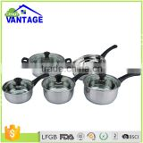 New arrival 9pcs cooking casserole, saucepan , frypan non-stick stainless steel cookware set