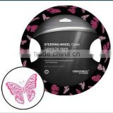 Pink Butterfly Design PU Steering Wheel Cover Car Steering Wheel Cover Various Matierals And Colors