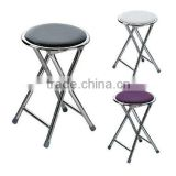 Round Folding Stool Seat in Black Purple and White Soft Padded Foldable Chair