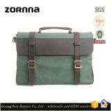 Zornna Business leisure crazy horse style canvas tote and shoulder briefcase men bags leather satchel