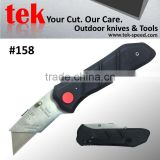 Anti slip rubber handle safety cutter knife with button lock