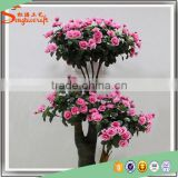 Wholesale plastic bonsai with china imported fabric artificial silk rose flowers tree