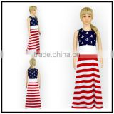 Baby Girl Dress American Flag Printing Cotton Sleeveless Long Skirts Childens Summer Dress