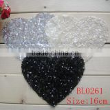 16CM wholesale heart shape sequin applique for girl cloth