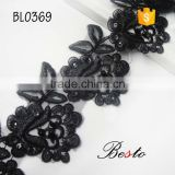 Promotional popular sequin black long trim flower embroidery trim for cloth