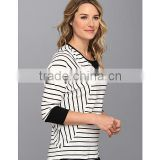 women white black stripe fleece scoop neckline with sweater-stitch at front three-quarter length dolman sleeves sweater fleece