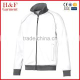 Ribbed polyester tricot sporty jacket brushed fleece lining soft for man white color