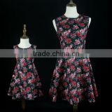 Custom Fashion Sleeveless Floral Printed Family Matching Outfit Mother And Daughter Matching Dresses
