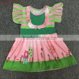 Baby girls icing flutter sleeves ruffle shirts Boutique girls dress Princess dresses for little girls