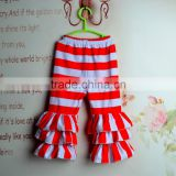 Baby girl red and white big stripes capri ruffle pants toddler ruffle leggings kids ruffle bottoms