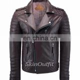 NEW MEN'S GENUINE LAMBSKIN STYLISH MOTORCYCLE BIKER LEATHER JACKET BROWN