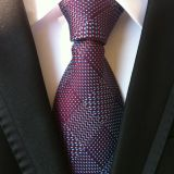 Handmade Gray Polyester Woven Necktie High Stitches XL