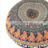 Round Pillow Cover, Decorative Mandala Pillow Sham, Bohemian Ottoman Poufs
