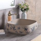 The portable hotel use no hole delicate ceramic square art basin