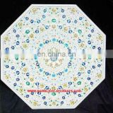 Octagonal White Marble Inlay Dining Table Tops