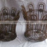Frilled Iron Wire Basket with Rust Finish