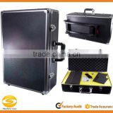 Extra Large Aluminum Wheeled Hard Case,Black Aluminum Photographic equipment storage trolley case