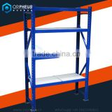 Clothing Factory Storage Rack Blue Warehouse Racking Storage Material and Garment Heavy duty Metal Shelf with 4 Tiers