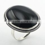Ornate Silver Surround Exquisite Black Agate Gemstone Ring