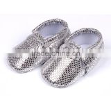 Crochet Sliver baby boy soft sole shoes moccasins leather girl shoes for toddler infant newborn