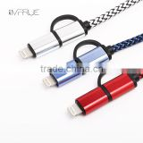 2 in 1 USB Fast Charger Cable Data Sync with Nylon Braided aluminum for iPhone/iPad/for Samsung