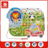 kids beautiful track road animal design on plywood base wooden toy magnetic substance education wooden make magnetic game board