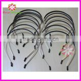 Metal headband with plastic teeth, girls headband with rubber teeth, headband with rubber teeth and black plastic ends