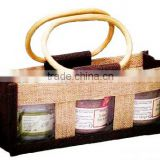 Bamboo Handle Jute Wine Bags For Wine Package or Use For The Gift Bag