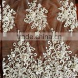 HOT ! 2015 NEW design white bridal lace fabric with beading