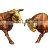 Brass Wild Bull Pair Locking Horns 8""